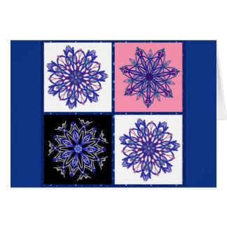 Cuatro copos de nieve de lujo en azul tarjeta de felicitación