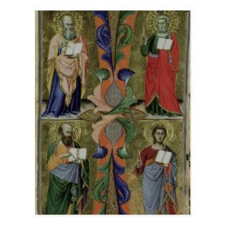 Cuatro evangelistas, siglo XIV (vitela) Postal