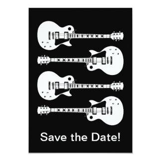 Cuatro guitarras eléctricas en negro y blanco invitación 12,7 x 17,8 cm