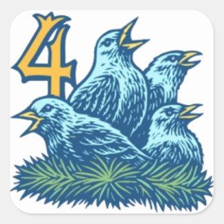 Cuatro pájaros de Colly Pegatina Cuadrada