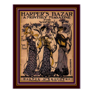 Cubierta 16 x 20 del art déco del Bazar de Harper Póster