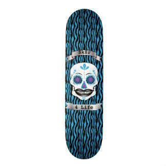 Cubierta azul del cráneo del caramelo de la cebra patín personalizado