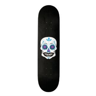 Cubierta azul negra de encargo del cráneo del patineta personalizada