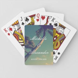 Cubierta de encargo de la foto del boda de playa barajas de cartas