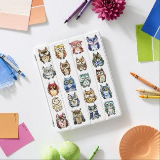 Cubierta De iPad Acuarela de los búhos del arco iris