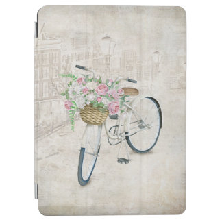 Cubierta De iPad Air Bicicletas del vintage con la cesta de los rosas