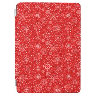 Cubierta De iPad Air Copos de nieve blancos en el navidad rojo