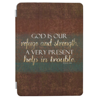 Cubierta De iPad Air Dios es nuestro verso cristiano Brown/oro de la