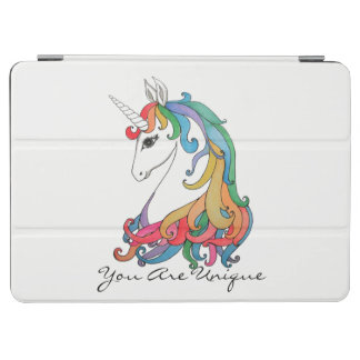 Cubierta De iPad Air Unicornio lindo del arco iris de la acuarela