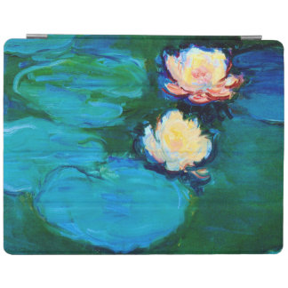 Cubierta De iPad Bella arte de Claude Monet de dos de agua flores