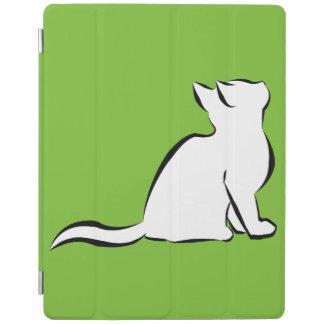 Cubierta De iPad Gato negro, terraplén blanco