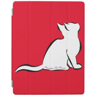 Cubierta De iPad Gato negro, terraplén blanco, texto interior