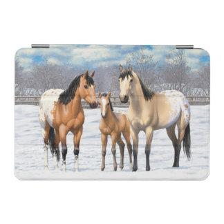 Cubierta De iPad Mini Caballos del Appaloosa del ante en nieve
