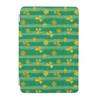 Cubierta De iPad Mini El verde de oro del trébol de St Patrick raya el