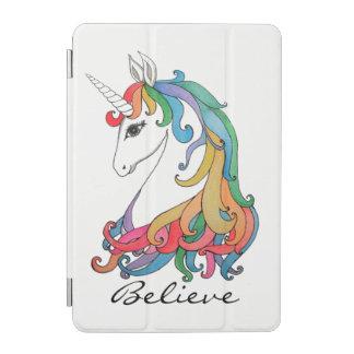 Cubierta De iPad Mini Unicornio lindo del arco iris de la acuarela