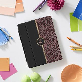 Cubierta De iPad Piel color de rosa elegante del leopardo del oro