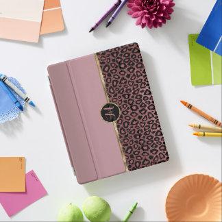 Cubierta De iPad Piel color de rosa polvorienta del leopardo del