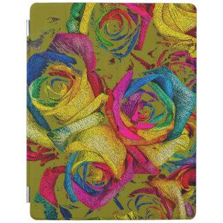 Cubierta de oro enrrollada del iPad de los rosas