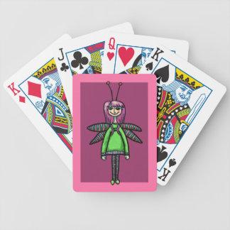 Cubierta de tarjetas, chica lindo en traje de la l barajas de cartas