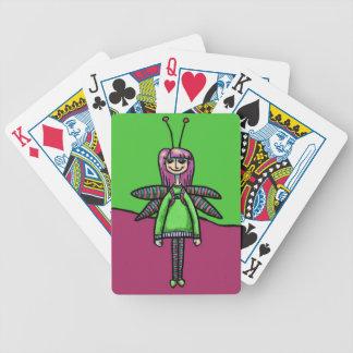 Cubierta de tarjetas, chica lindo en traje de la l cartas de juego