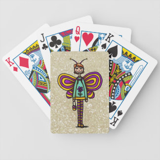 Cubierta de tarjetas chica lindo en traje de la m baraja