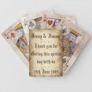 Cubierta del vintage de las tarjetas que casan baraja de cartas bicycle