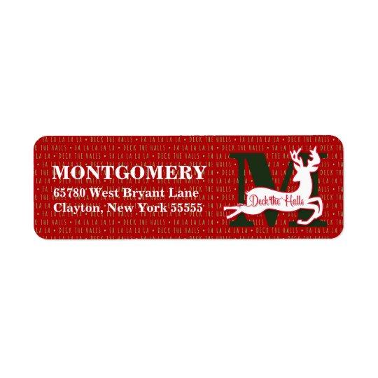 Cubierta el reno blanco con monograma de los etiqueta de remitente