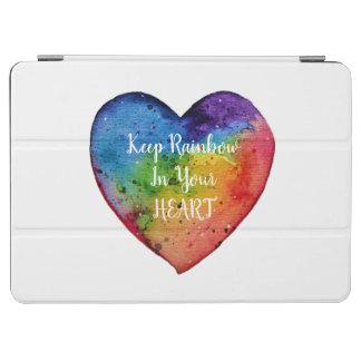 Cubierta Para iPad Air Corazón lindo del arco iris de la acuarela