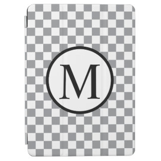 Cubierta Para iPad Air Monograma simple con el tablero de damas gris
