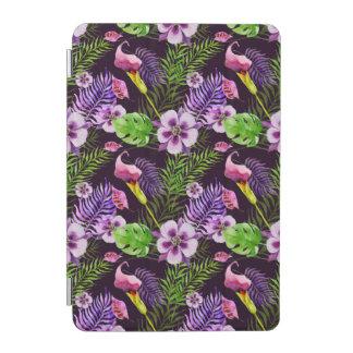 Cubierta Para iPad Mini Modelo tropical púrpura negro de la acuarela de la