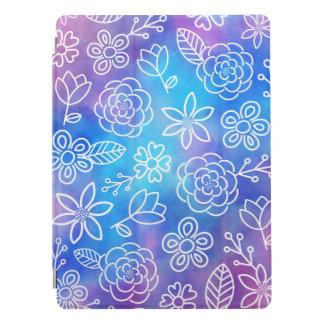 Cubierta Para iPad Pro Acuarela azul y púrpura con las flores Doodled