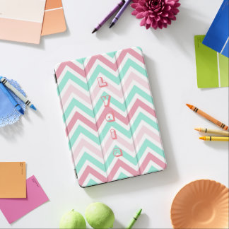 Cubierta Para iPad Pro Chevron verde azulado rosado personalizado
