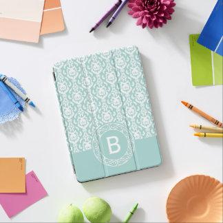 Cubierta Para iPad Pro Monograma azul y blanco de lujo del damasco
