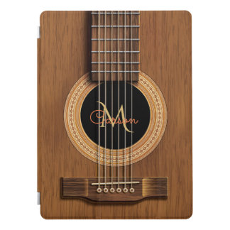 Cubierta Para iPad Pro Monograma de madera natural de la guitarra