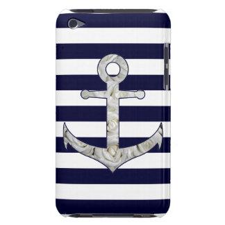 Cubierta Para iPod De Barely There Ancla náutica del rosa blanco