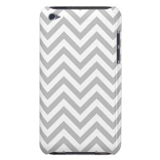 Cubierta Para iPod De Barely There El zigzag gris y blanco raya el modelo de Chevron