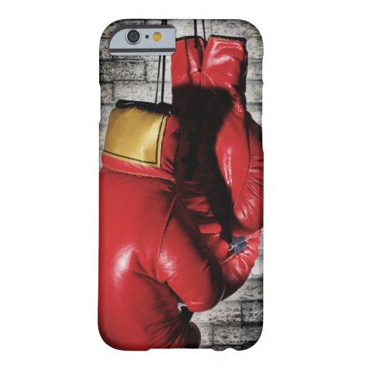 Cubierta roja de la caja de los guantes de boxeo funda de iPhone 6 barely there