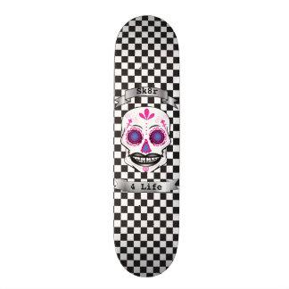 Cubierta rosada a cuadros del cráneo del caramelo patin personalizado