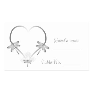 Cubierto de plata del boda del corazón de la tarjetas de visita