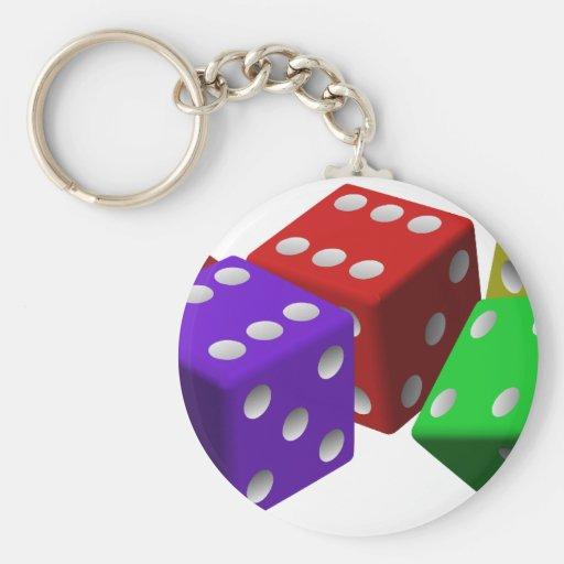 cubos de juego vio rojo de la suerte del juego de llaveros