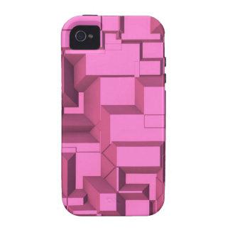 Cubos macizos rosados de Techno iPhone 4/4S Carcasas