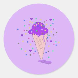 Cucharada del helado púrpura del confeti pegatina redonda