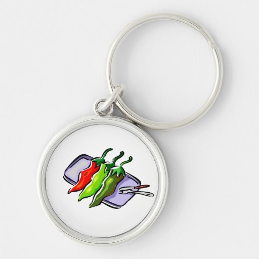 Cuchillo de la bifurcación de tres pimientas en gr llavero personalizado
