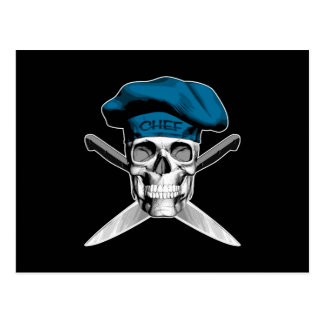 Cuchillos del cráneo y del cocinero: Gorra azul Postal
