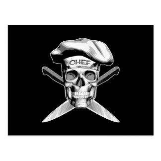 Cuchillos del cráneo y del cocinero: Gorra blanco Postal