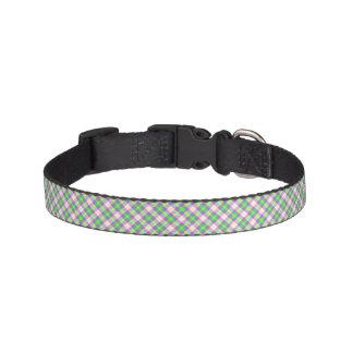 Cuello de perro verde claro y rosado de la tela collares de perro