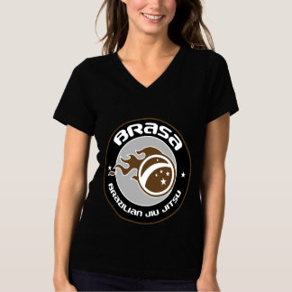 Cuello en v de las mujeres T de equipo-Brown de la Camiseta