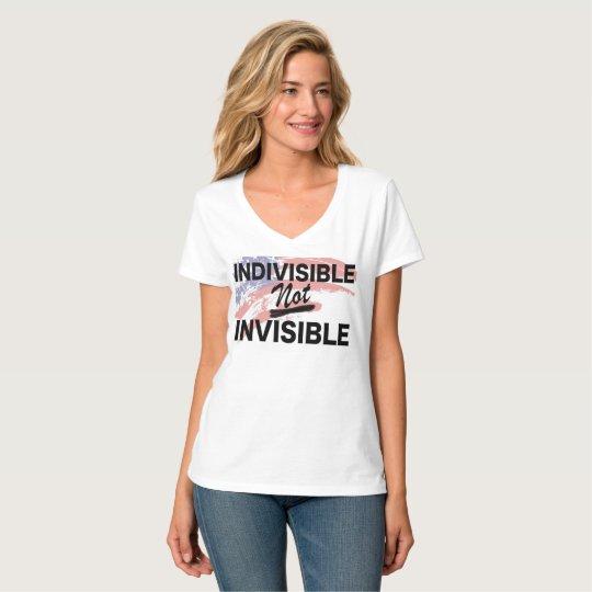 Cuello en v no invisible indivisible camiseta
