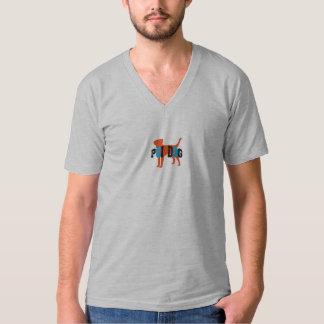 Cuello en v oscuro de la camiseta Poi del perro