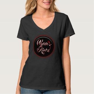 Cuello en v para mujer T del logotipo del medallón Camiseta